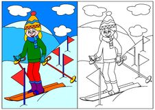 Girl skiing in the mountains - a coloring book for young children Royalty Free Stock Image