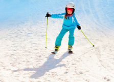 Girl skiing at ski resort Stock Images