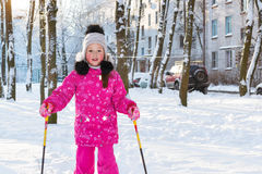Girl is skiing in snow Park Stock Image
