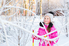 Girl is skiing in snow Park Royalty Free Stock Photos