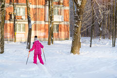 Girl is skiing in snow Park Stock Photography