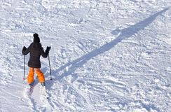 Girl skiing in the snow in winter.  Stock Photo