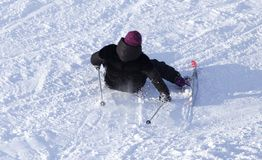 Girl skiing in the snow in winter.  Stock Photography