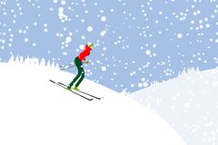 Girl skiing, winter mountain landscape Royalty Free Stock Photos
