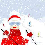 Girl skiing, winter mountain landscape Royalty Free Stock Images