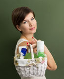 Girl with a skin care products Stock Photos