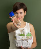 Girl with skin care products Stock Photo