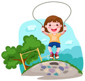 Girl skipping. Illustration of  a cartoon girl  skipping in the park Stock Photos