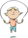 Girl Skipping. A happy, cartoon girl jumps rope Royalty Free Stock Photography