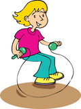 Girl skipping. A cartoon little girl skipping with a skipping rope Royalty Free Stock Photo