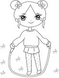 Girl with a skipping rope coloring page Royalty Free Stock Photo