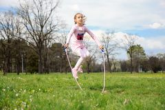 Girl with skipping rope Royalty Free Stock Images