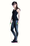 Girl with a skipping rope Royalty Free Stock Image