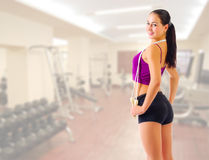 Girl with skipping rope at gym club Stock Photo