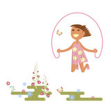 Girl with skipping rope. Illustration of child on a flower meadow - girl with skipping rope. Flat design of season. Vector illustration eps Royalty Free Stock Photo