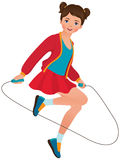 Girl with a skipping rope. Illustration on white background little girl playing with a skipping rope Royalty Free Stock Images