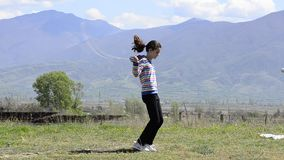 Girl skipping rope stock footage
