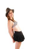 Girl in skirt and bra. Stock Images