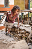 Girl with skirt in Nepal Royalty Free Stock Photo