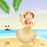 Girl with skirt-shaped shell Royalty Free Stock Photo