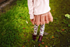 Girl in a skirt walks Royalty Free Stock Image