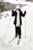 The girl on skis. Royalty Free Stock Image