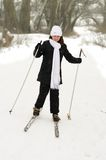 The girl on skis. Stock Image