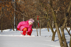 Girl on skis Stock Images