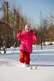 Girl on skis Royalty Free Stock Image