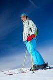 Girl on skis. Royalty Free Stock Photos