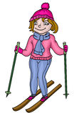 Girl on skis Royalty Free Stock Photos