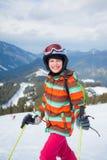 Girl on skis. Stock Photo