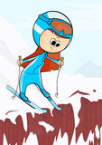 The girl on skis. Flat vector Stock Photo