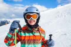 Girl on skis. Royalty Free Stock Photo