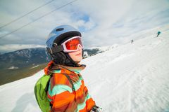 Girl on skis Stock Photos
