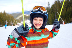 Girl on skis. Royalty Free Stock Photos