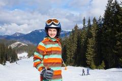 Girl on skis. Royalty Free Stock Image