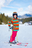 Girl on skis. Royalty Free Stock Photography