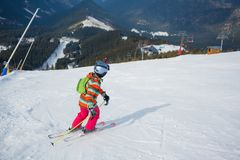 Girl on skis. Royalty Free Stock Images