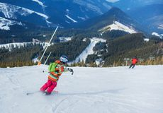 Girl on skis. Stock Photo