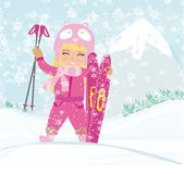 Girl with skis. Vector Illustration Stock Images