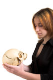 Girl with skull Royalty Free Stock Photography