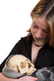 Girl with skull Stock Photo