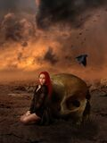 Girl and Skull Stock Photography