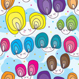 Girl Sky Seamless Pattern Stock Images