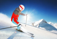 Girl on the ski at sunny bright day / female / fun Royalty Free Stock Photo