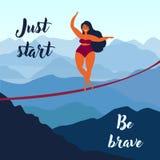 Girl on slackline. Keep your balance. Motivation stock illustration