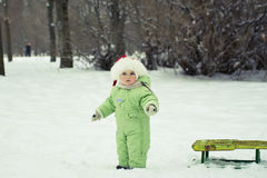 Girl with the sled Royalty Free Stock Photo