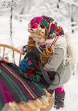 Girl and sled Stock Image