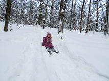 Girl and sled Royalty Free Stock Photography